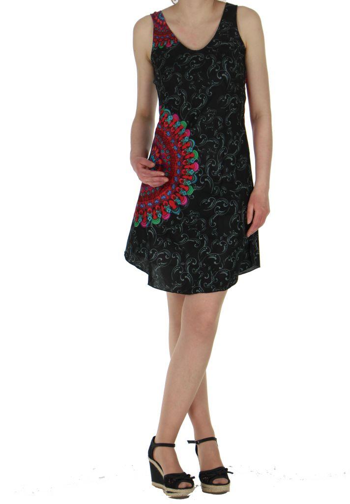 Robe imprimée rosace noire dina 260637