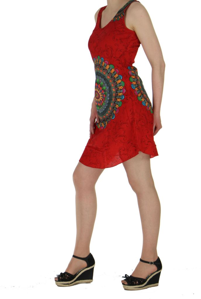 Robe imprimée rosace rouge dina 260635