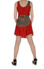 Robe imprimée rosace rouge dina 260636