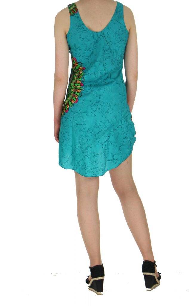 Robe imprimée rosace turquoise dina 260640