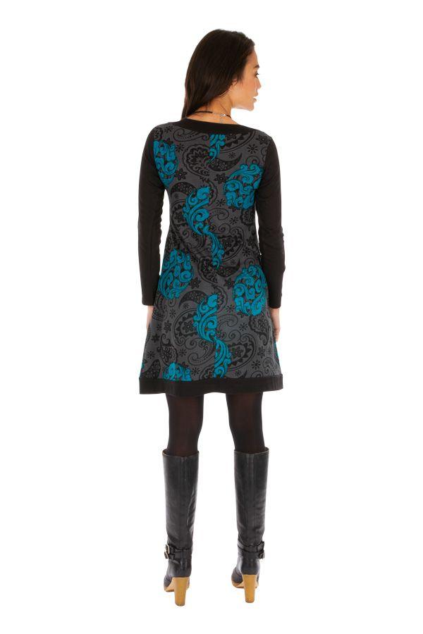 Robe imprimée très originale à manches longues Coralie 312666