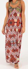 Robe longue à bretelles Originale et Colorée Peggy Rouge et Blanche 279500
