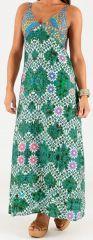 Robe longue à bretelles Originale et Colorée Peggy Verte et Blanche 279504