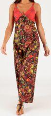 Robe longue à fines bretelles Originale et Colorée Peggy Rouge 279354