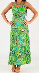 Robe longue à fines bretelles Originale et Colorée Peggy Verte Flash 279279