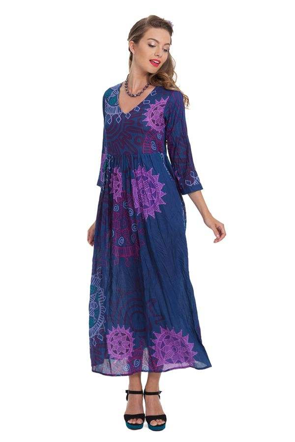 robe longue a manches 3 4 originale et coloree caloma bleue. Black Bedroom Furniture Sets. Home Design Ideas