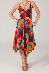 Robe longue asymétrique originale et colorée Opali 318766