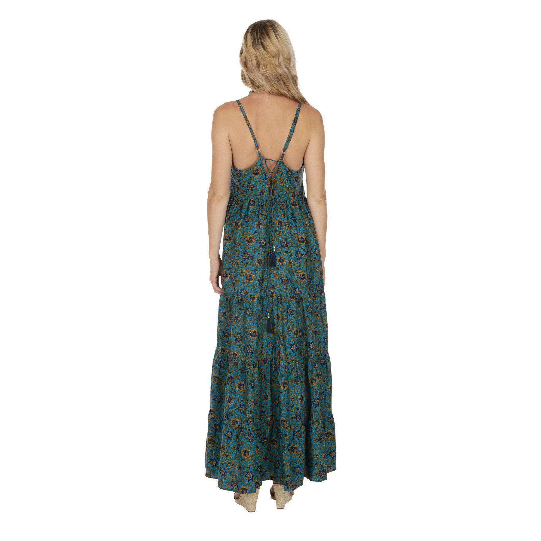 Robe longue bleue à fleurs pour femme avec dos nu Ariganelle
