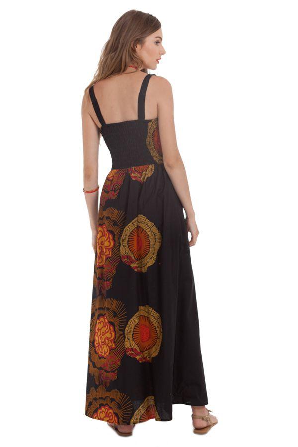 robe longue d ete a col carre ethnique et originale elvire noire. Black Bedroom Furniture Sets. Home Design Ideas