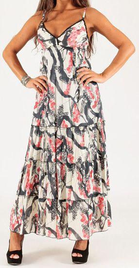 Robe longue d'été à fines bretelles Originale et Imprimée Capucine 276730