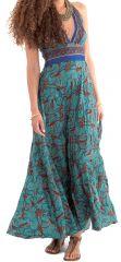 Robe longue d'été à Tour de cou Originale et Colorée Lasmy Turquoise 280754