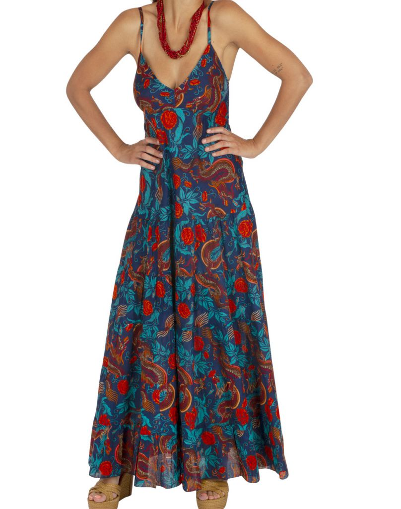 Robe longue d'été fleurie et colorée pour femme Gwenda