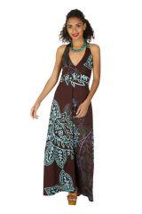 Robe longue d'été pour femme au col en V ethnique Maiwou 318520