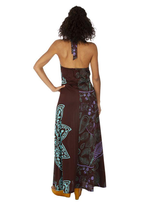 Robe longue d'été pour femme au col en V ethnique Maiwou 318521