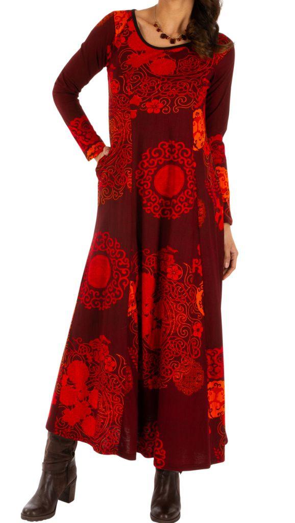 Robe longue d'hiver pour femme aux jolis motifs Albury 312679