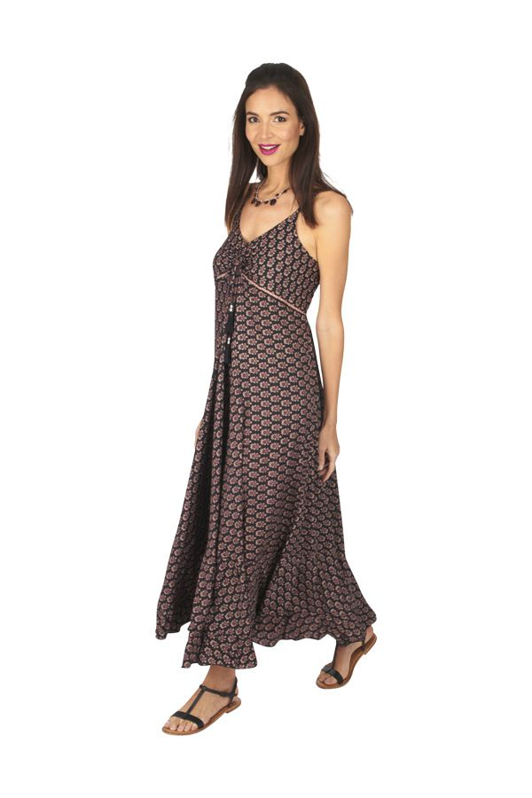 Robe longue été noire pour femme fluide et ethnique Sonia 316883