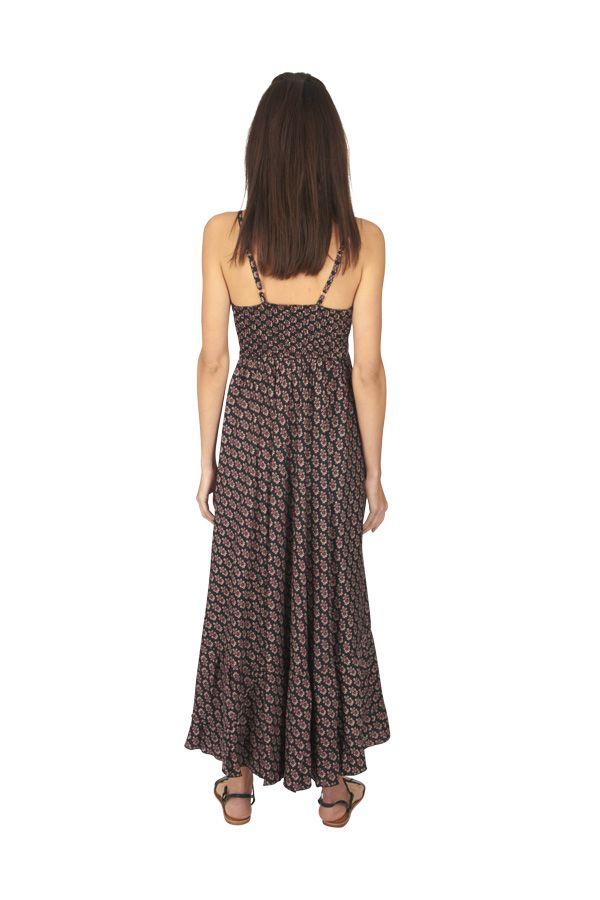 Robe longue été noire pour femme fluide et ethnique Sonia 316884