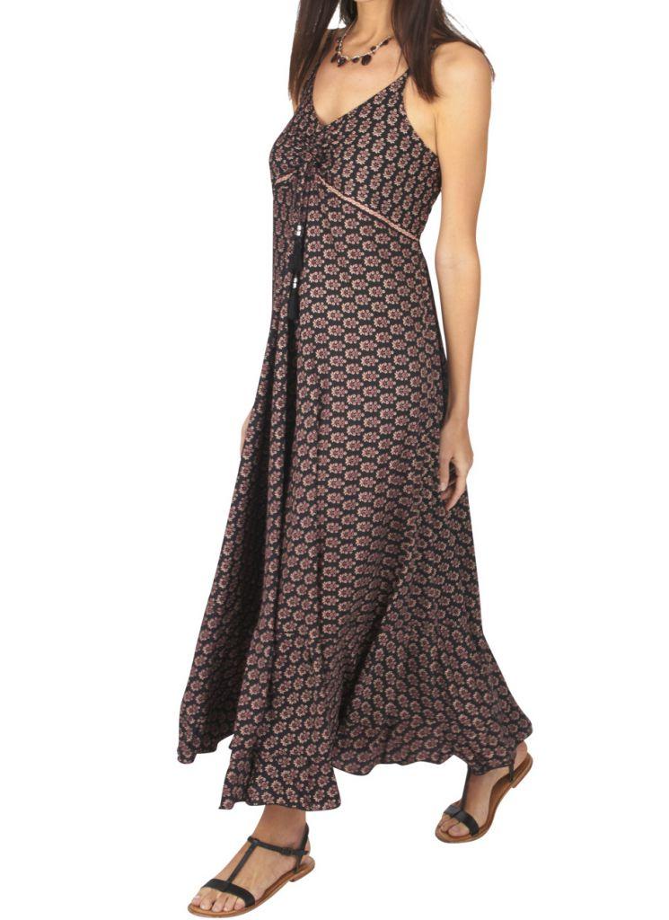 Robe longue été noire pour femme fluide et ethnique Sonia 316885
