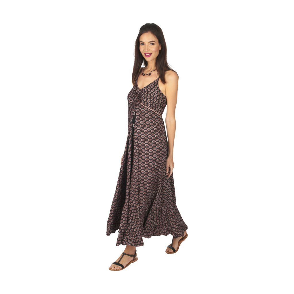 Robe longue été noire pour femme fluide et ethnique Sonia 316886