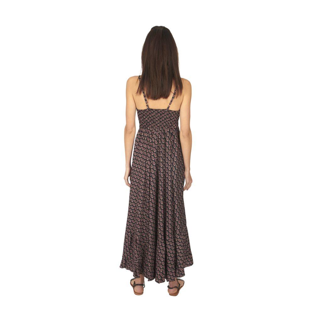Robe longue été noire pour femme fluide et ethnique Sonia 316887