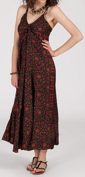 Robe longue ethnique à fines bretelles Marron Siria 272164