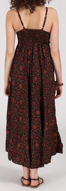 Robe longue ethnique à fines bretelles Marron Siria 272165