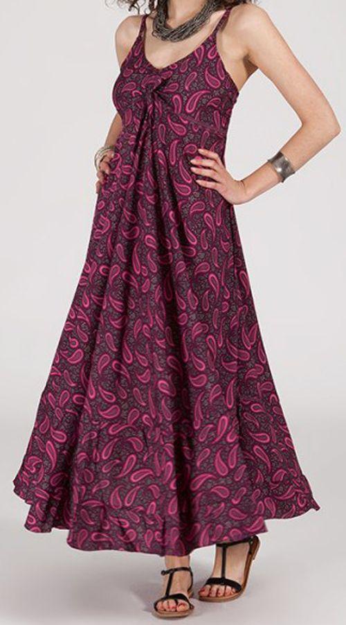Robe longue ethnique à fines bretelles Rose Siria 272172