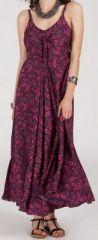 Robe longue ethnique à fines bretelles Rose Siria 272173