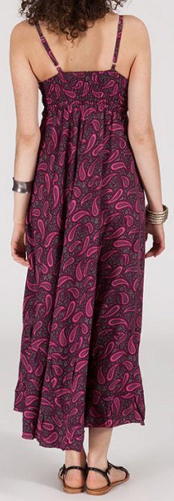 Robe longue ethnique à fines bretelles Rose Siria 272174