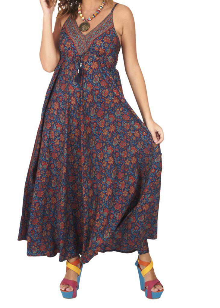 Robe longue ethnique chic imprimé fleuri Marinette 316659