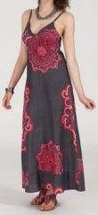 Robe longue ethnique et originale - grise - Blandina 271884