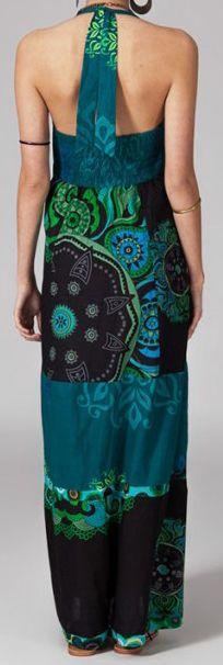 Robe longue ethnique et originale - noire et bleue - Limika 271879