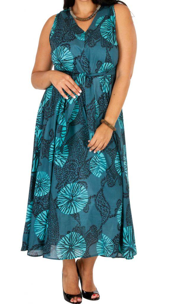Robe longue ethnique sans manches pour femme ronde Kalia 309780