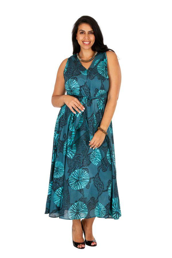 Robe longue ethnique sans manches pour femme ronde Kalia 309781