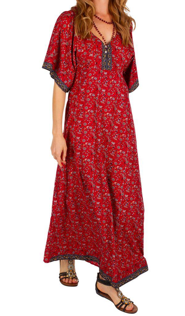 Robe longue fleurie à manches courtes Massaoua rouge