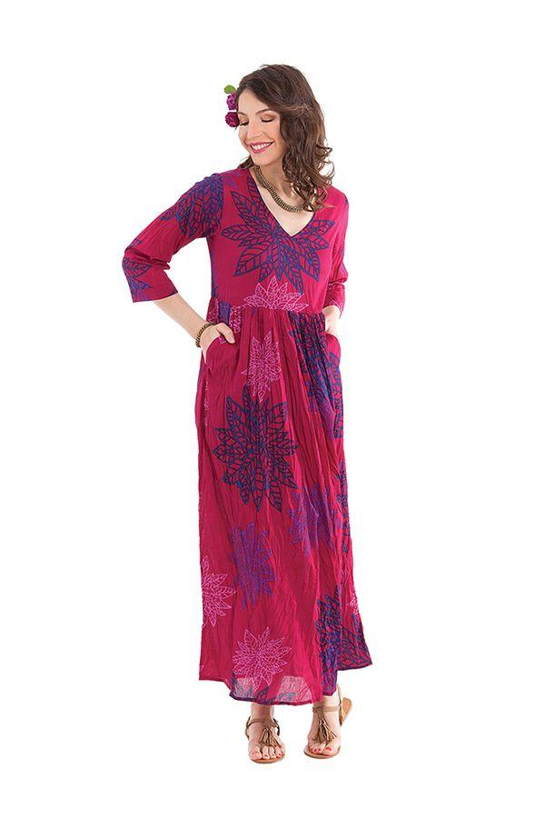 robe longue fuchsia a manches 3 4 originale et coloree caloma. Black Bedroom Furniture Sets. Home Design Ideas