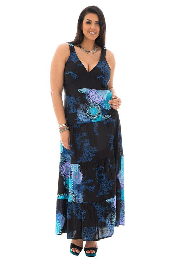 robe longue grande taille avec doublure 100% voile de coton Gisèle 290175
