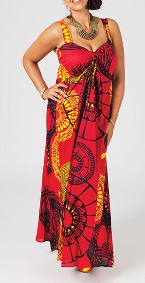 Robe longue grande taille colorée rouge 268039