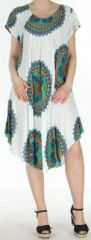 Robe longue grande taille ethnique  Blanche  Manna 272392