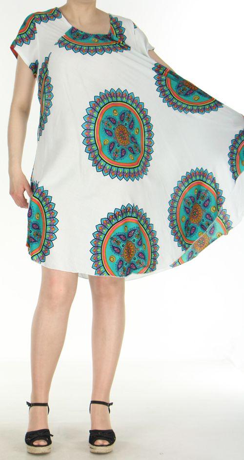Robe longue grande taille ethnique  Blanche  Manna 272393