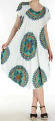 Robe longue grande taille ethnique  Blanche  Manna 272394