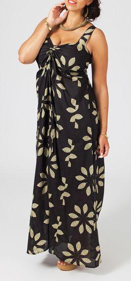 Robe longue grande taille marron Daria 268042
