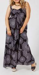 Robe longue grande taille noire et grise Sheila 268040
