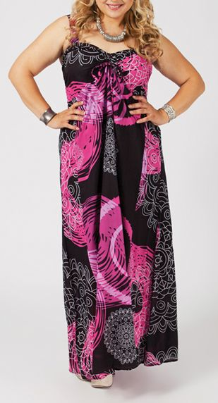 Robe longue grande taille noire et rose Liza 268041