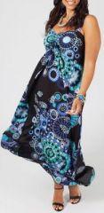 Robe longue grande taille pas ch�re tons de bleue Daria 271183