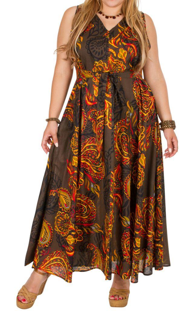 Robe longue grande taille sans manches et col en V Talhia 309777