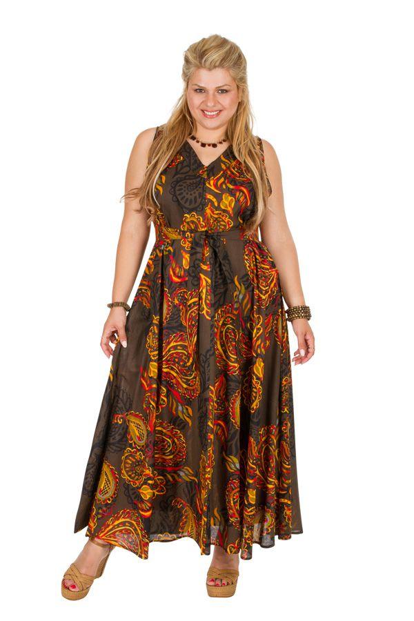 Robe longue grande taille sans manches et col en V Talhia 309778