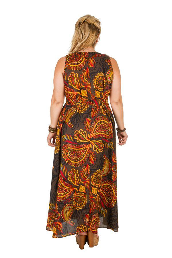 Robe longue grande taille sans manches et col en V Talhia 309779