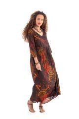 Robe longue Originale et Colorée Caloma à manches 3/4 Marron 281507