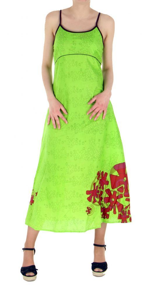 Robe longue originale imprimée flowah anis 245122